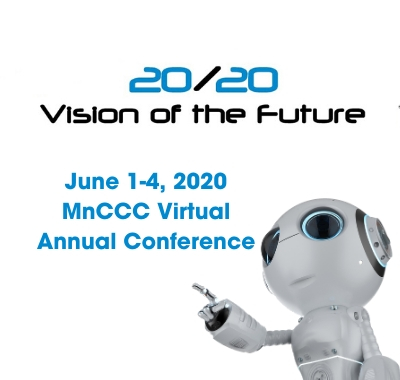 20/20 Vision of the Future, June 1-4, 2020. MnCCC Virutal Annual Conference Graphic w