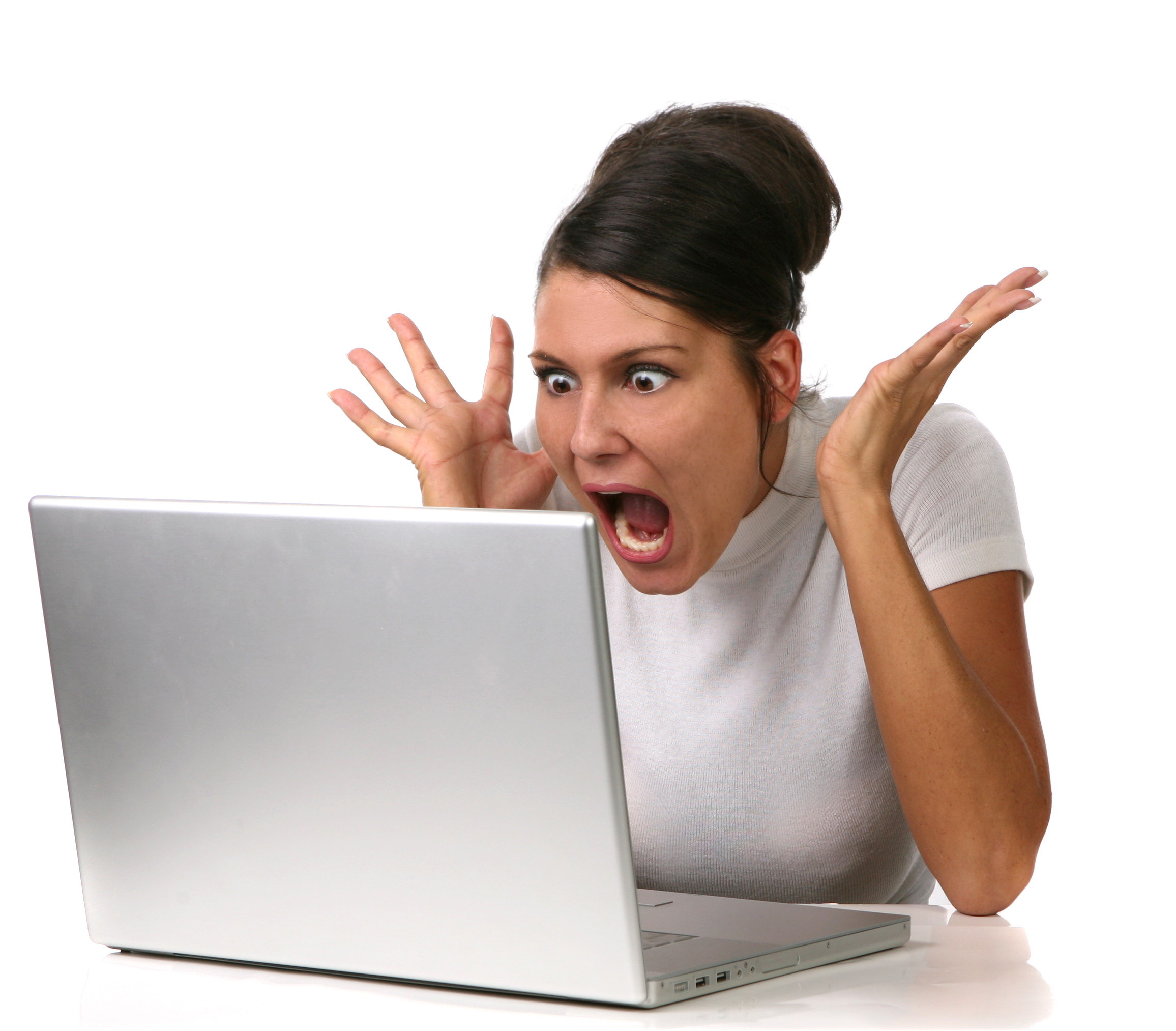 Female Shocked at Something on Her Computer Stock Image