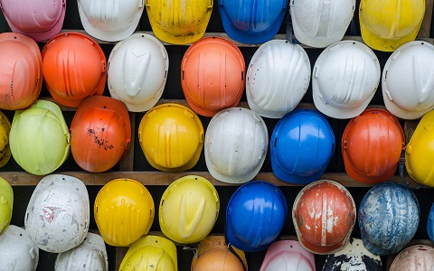 Collection of Construction Safety Helmets