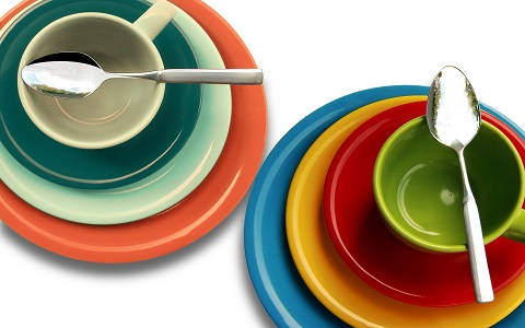 Colorful dishes and silverware